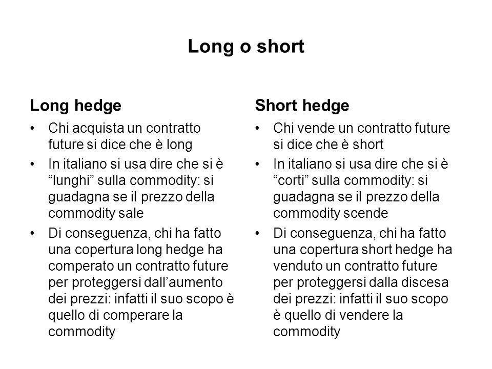 Long o short Long hedge Chi acquista un contratto future si dice che è long In italiano si usa dire che si è lunghi sulla commodity: si guadagna se il prezzo della commodity sale Di conseguenza, chi ha fatto una copertura long hedge ha comperato un contratto future per proteggersi dallaumento dei prezzi: infatti il suo scopo è quello di comperare la commodity Short hedge Chi vende un contratto future si dice che è short In italiano si usa dire che si è corti sulla commodity: si guadagna se il prezzo della commodity scende Di conseguenza, chi ha fatto una copertura short hedge ha venduto un contratto future per proteggersi dalla discesa dei prezzi: infatti il suo scopo è quello di vendere la commodity