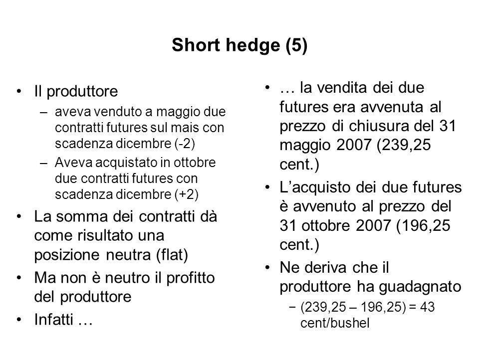 Short hedge (5) Il produttore –aveva venduto a maggio due contratti futures sul mais con scadenza dicembre (-2) –Aveva acquistato in ottobre due contratti futures con scadenza dicembre (+2) La somma dei contratti dà come risultato una posizione neutra (flat) Ma non è neutro il profitto del produttore Infatti … … la vendita dei due futures era avvenuta al prezzo di chiusura del 31 maggio 2007 (239,25 cent.) Lacquisto dei due futures è avvenuto al prezzo del 31 ottobre 2007 (196,25 cent.) Ne deriva che il produttore ha guadagnato (239,25 – 196,25) = 43 cent/bushel