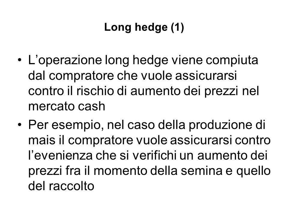 Long hedge (1) Loperazione long hedge viene compiuta dal compratore che vuole assicurarsi contro il rischio di aumento dei prezzi nel mercato cash Per esempio, nel caso della produzione di mais il compratore vuole assicurarsi contro levenienza che si verifichi un aumento dei prezzi fra il momento della semina e quello del raccolto