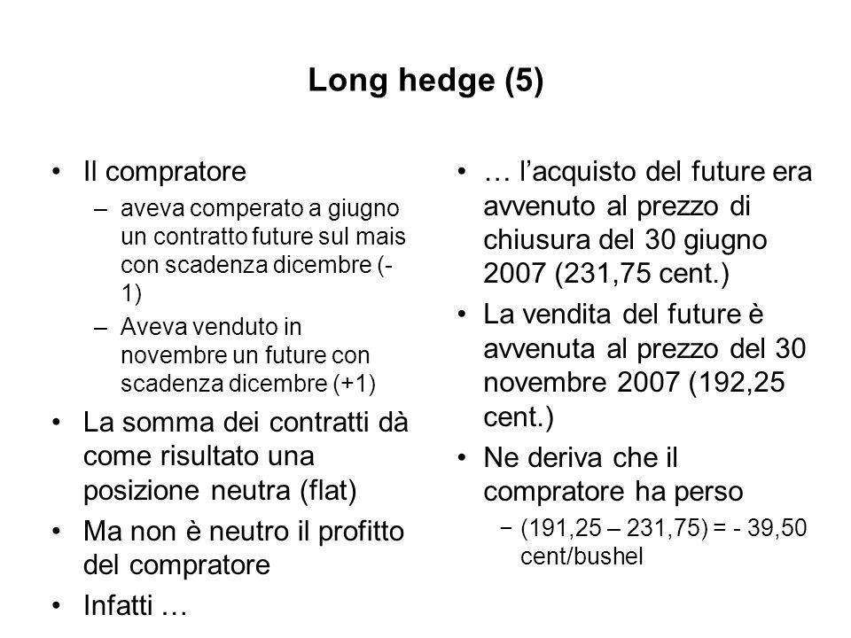 Long hedge (5) Il compratore –aveva comperato a giugno un contratto future sul mais con scadenza dicembre (- 1) –Aveva venduto in novembre un future con scadenza dicembre (+1) La somma dei contratti dà come risultato una posizione neutra (flat) Ma non è neutro il profitto del compratore Infatti … … lacquisto del future era avvenuto al prezzo di chiusura del 30 giugno 2007 (231,75 cent.) La vendita del future è avvenuta al prezzo del 30 novembre 2007 (192,25 cent.) Ne deriva che il compratore ha perso (191,25 – 231,75) = - 39,50 cent/bushel