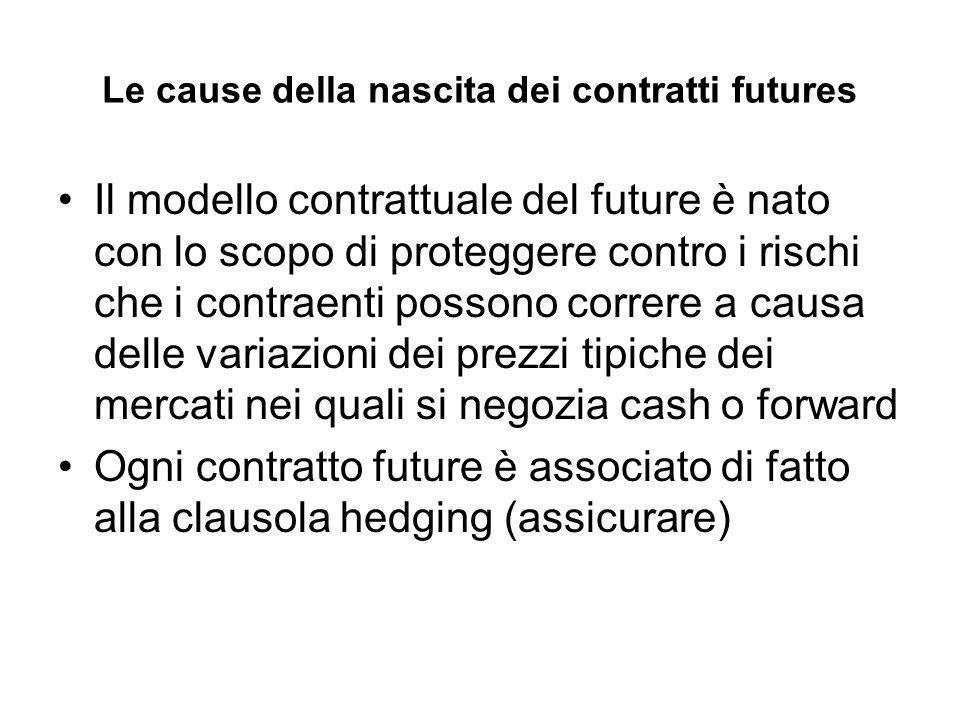 Le cause della nascita dei contratti futures Il modello contrattuale del future è nato con lo scopo di proteggere contro i rischi che i contraenti possono correre a causa delle variazioni dei prezzi tipiche dei mercati nei quali si negozia cash o forward Ogni contratto future è associato di fatto alla clausola hedging (assicurare)