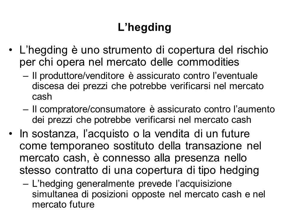 Lhegding Lhegding è uno strumento di copertura del rischio per chi opera nel mercato delle commodities –Il produttore/venditore è assicurato contro leventuale discesa dei prezzi che potrebbe verificarsi nel mercato cash –Il compratore/consumatore è assicurato contro laumento dei prezzi che potrebbe verificarsi nel mercato cash In sostanza, lacquisto o la vendita di un future come temporaneo sostituto della transazione nel mercato cash, è connesso alla presenza nello stesso contratto di una copertura di tipo hedging –Lhedging generalmente prevede lacquisizione simultanea di posizioni opposte nel mercato cash e nel mercato future
