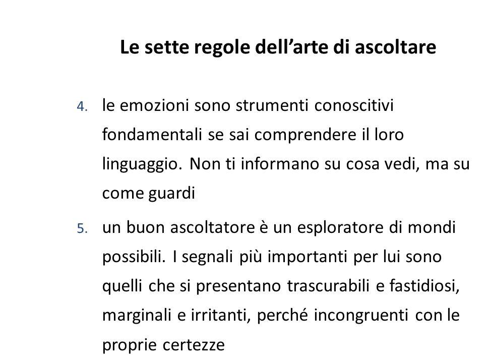 2 Le sette regole dellarte di ascoltare 4. le emozioni sono strumenti conoscitivi fondamentali se sai comprendere il loro linguaggio. Non ti informano
