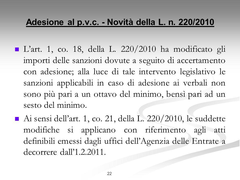 Adesione al p.v.c.- Novità della L. n. 220/2010 Lart.