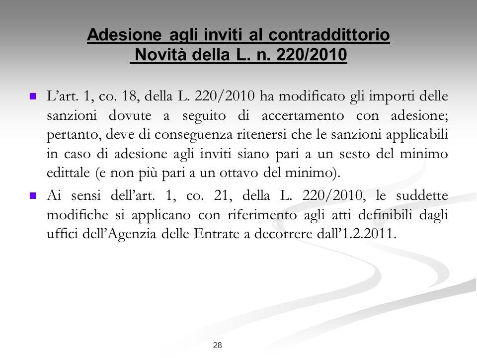 Adesione agli inviti al contraddittorio Novità della L.