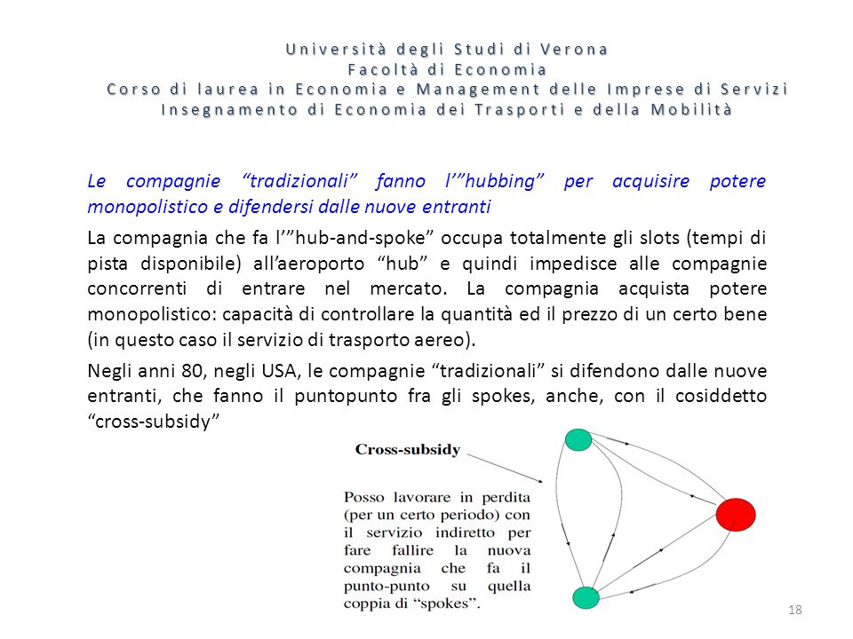 18 Università degli Studi di Verona Facoltà di Economia Corso di laurea in Economia e Management delle Imprese di Servizi Insegnamento di Economia dei