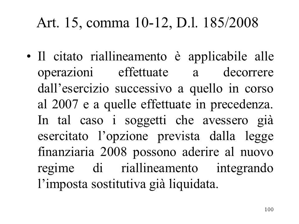 Art. 15, comma 10-12, D.l. 185/2008 Se i maggiori valori sono relativi ai crediti si applica limposta sostitutiva del 20 per cento. Il riallineamento