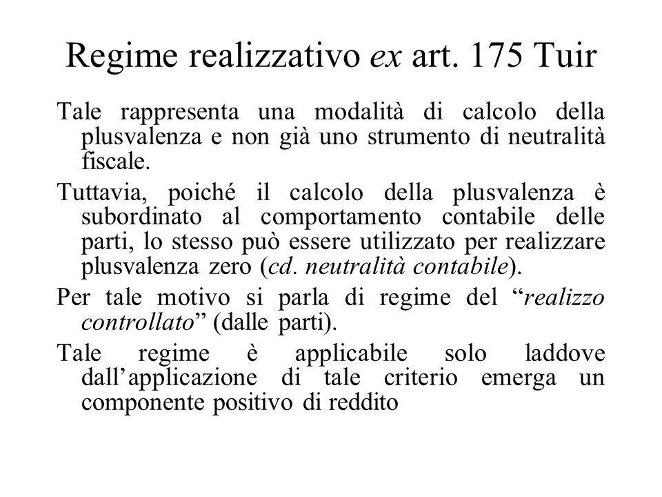 Conferimento di partecipazioni di controllo e collegamento Regime del realizzo controllato (ex art. 175 Tuir)