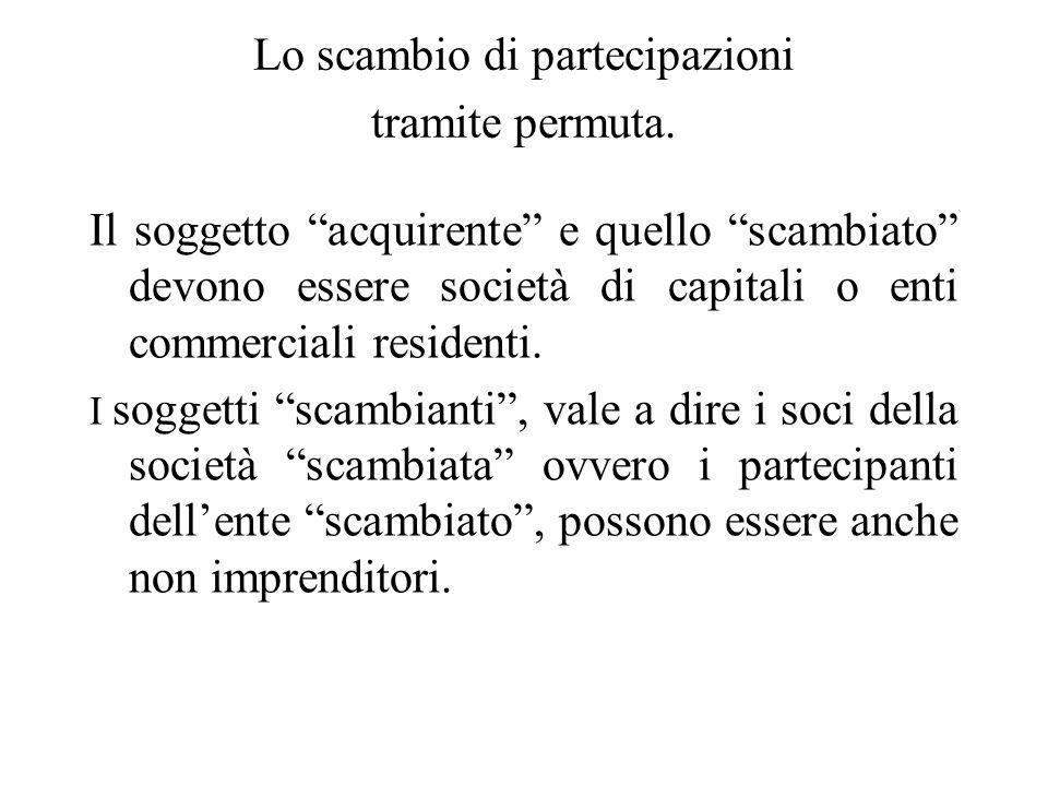 Ambito soggettivo di applicazione dello scambio di partecipazioni tramite conferimento Inizialmente lart. 177, 2° co., Tuir limitava, per le operazion