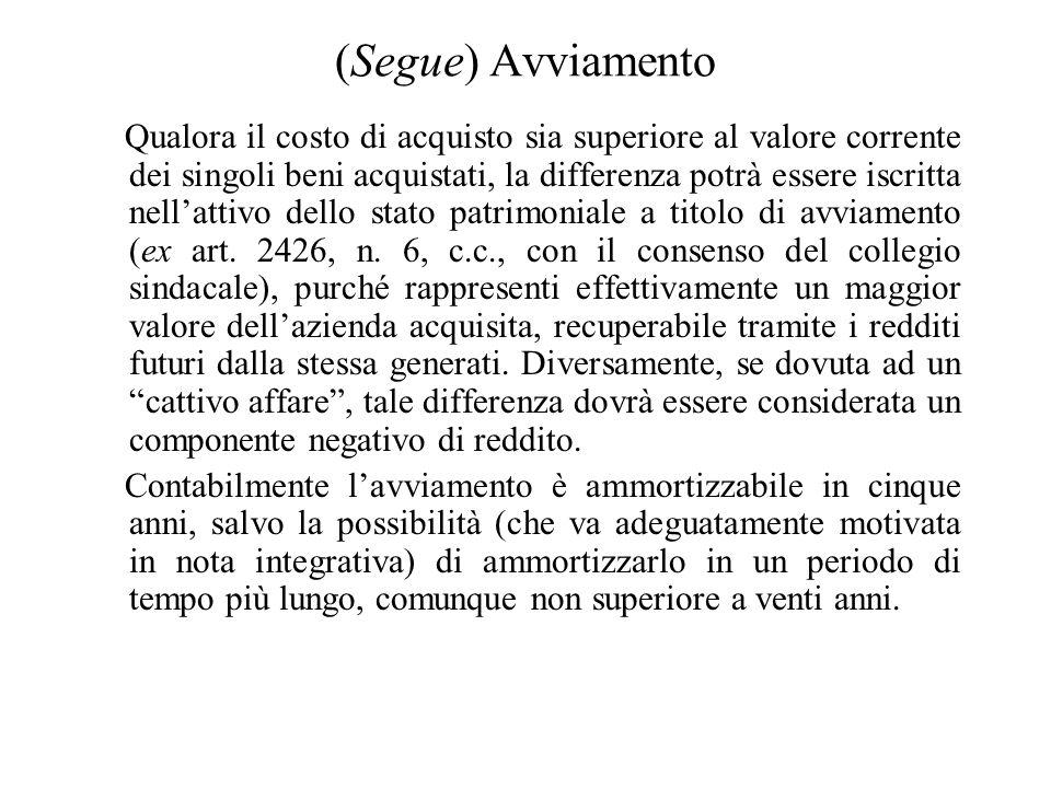 Effetti della cessione per il cessionario Nella contabilità del cessionario i beni vengono iscritti al costo di acquisto e non al costo storico (i.e.