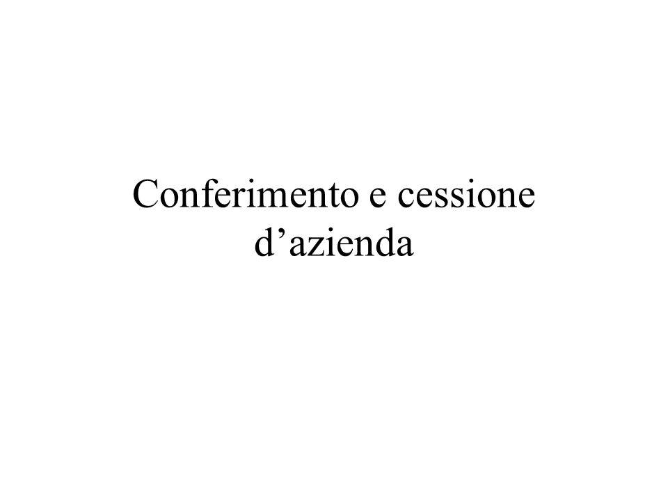 1 Conferimento e cessione d'azienda Conferimenti di partecipazioni controllo e collegamento Scambio di partecipazioni Giuseppe Corasaniti Università d