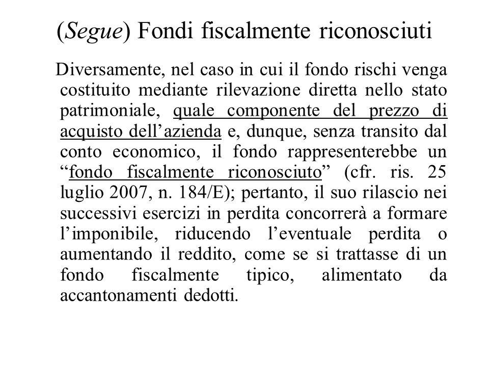 (Segue) Allo stesso modo (in forza di una sorta di fictio iuris), anche nellipotesi di cessione dellazienda il soggetto cedente che ha costituito il f