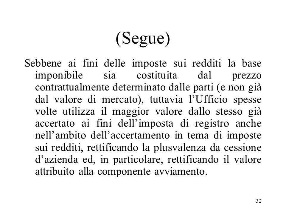 31 1° tipologia di contestazione Contestazioni relative alla determinazione della plusvalenza derivante dal trasferimento dellazienda in conseguenza d