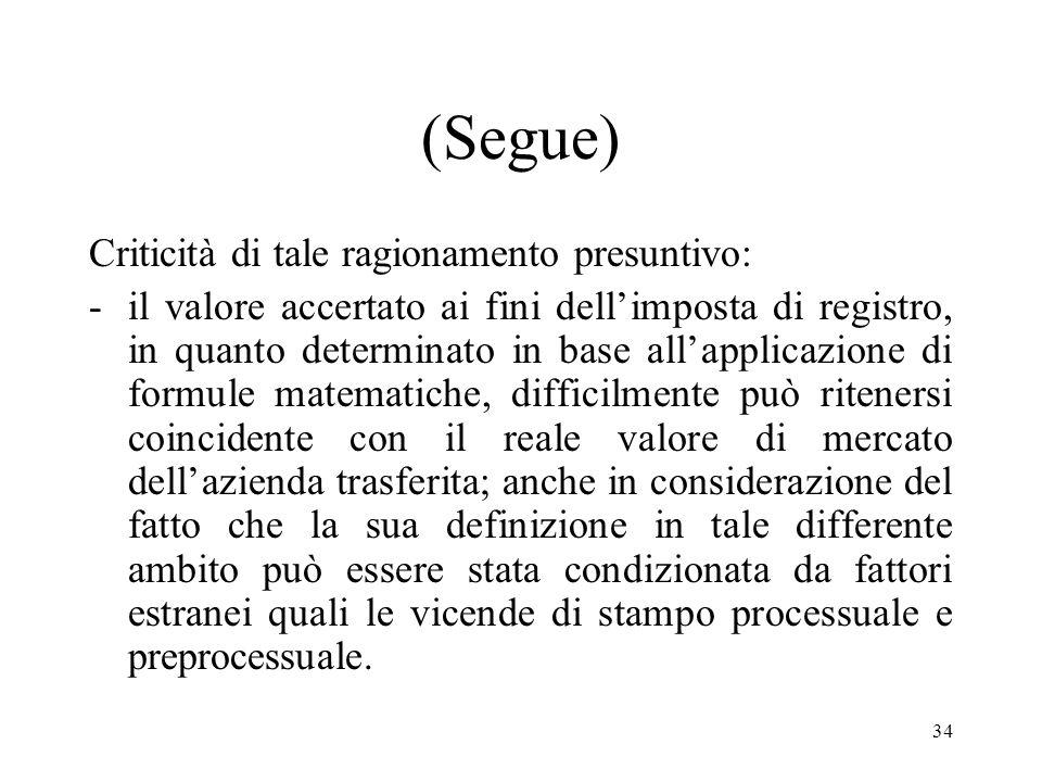 33 (Segue) A tal fine il ragionamento presuntivo utilizzato dallUfficio sarebbe il seguente: poiché ai fini dellimposta di registro è stato definitiva