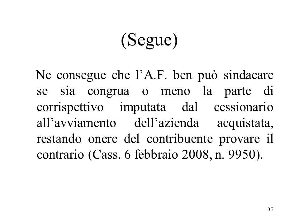 36 (Segue) In caso di cessione dazienda, sebbene il corrispettivo per la cessione sia il frutto della libera contrattazione delle parti, tuttavia la c