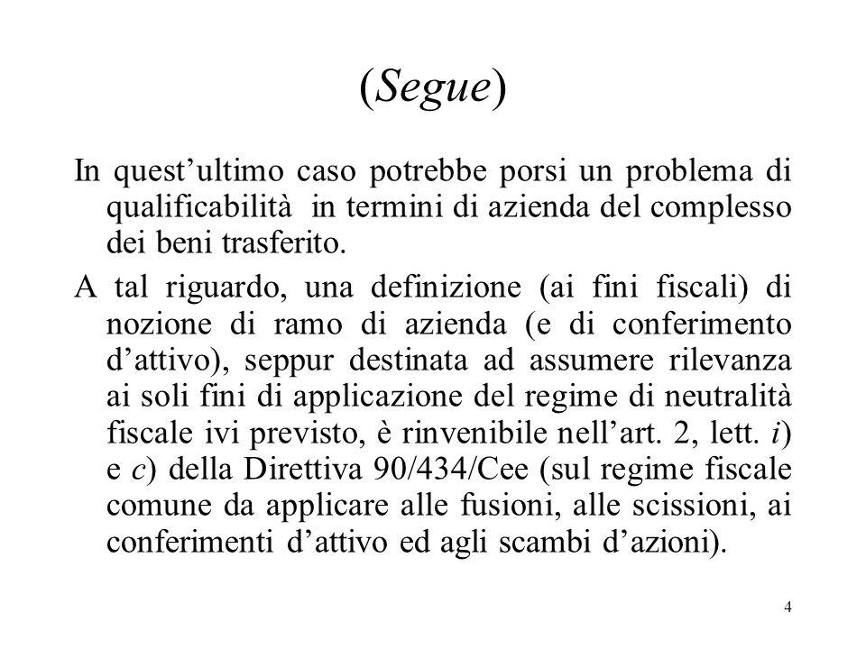 4 (Segue) In questultimo caso potrebbe porsi un problema di qualificabilità in termini di azienda del complesso dei beni trasferito.