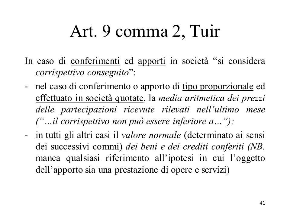 40 Natura dellatto di conferimento Il conferimento è un atto realizzativo di componenti reddituali, in quanto fiscalmente equiparato, ex art. 9, comma