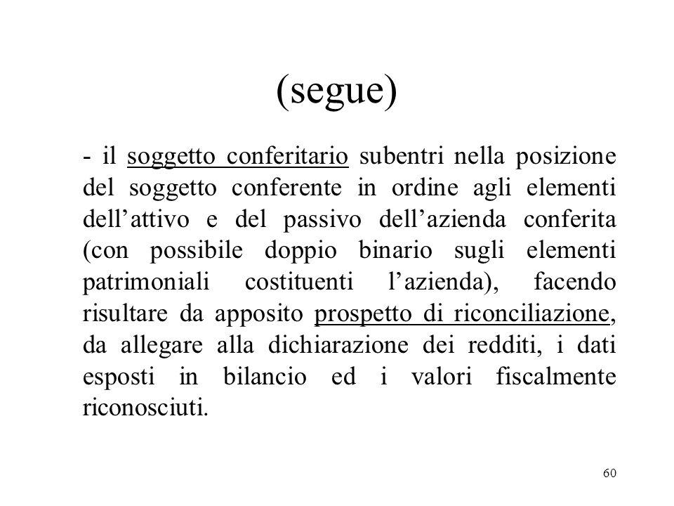 59 (segue) In tali casi non si ha realizzo di plusvalenze o minusvalenze; a tale scopo è necessario che: -il soggetto conferente assuma, quale valore
