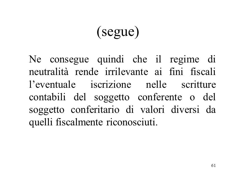 60 (segue) - il soggetto conferitario subentri nella posizione del soggetto conferente in ordine agli elementi dellattivo e del passivo dellazienda co