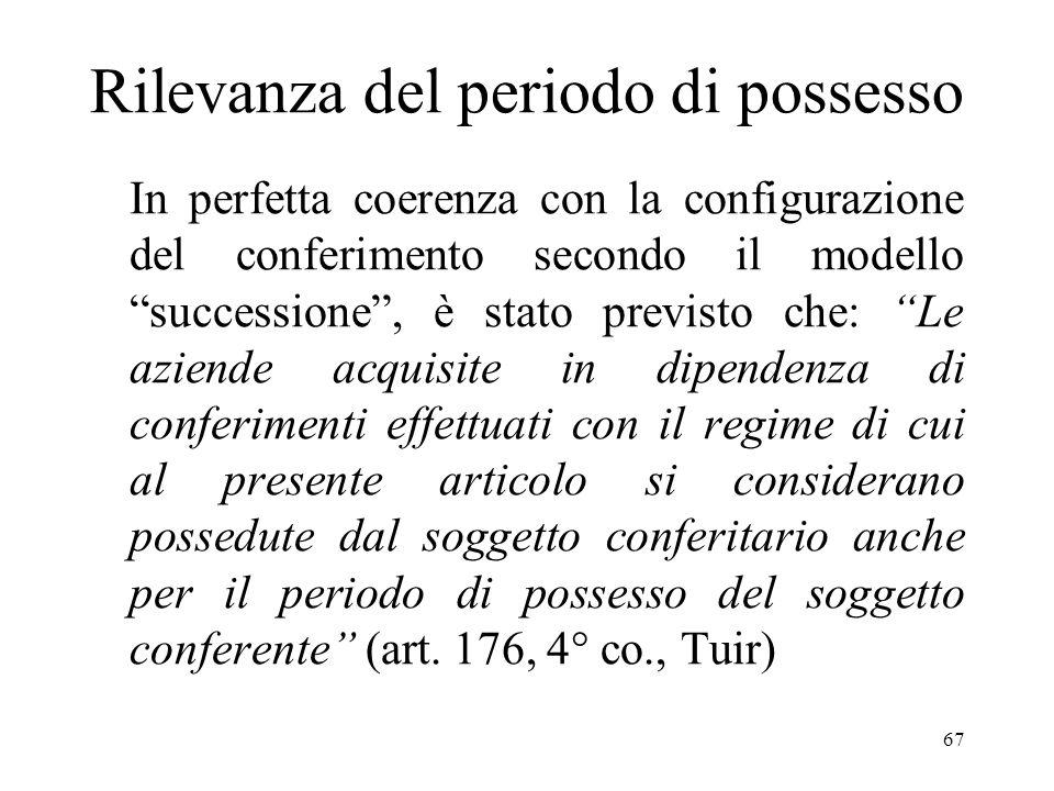 66 (Segue) Nelle scritture contabili della conferitaria tali maggior valori devono, comunque, essere iscritti a saldi aperti, ossia con indicazione de
