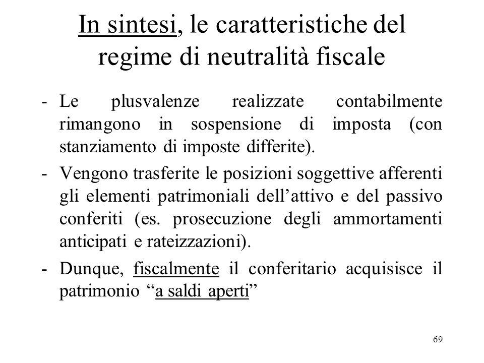 68 (segue) Allo stesso modo le partecipazioni ricevute dai soggetti che hanno effettuato i conferimenti in regime di neutralità fiscale o le operazion