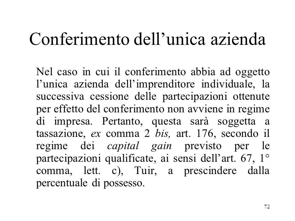 71 (segue) Viene dunque introdotta una presunzione legale di non elusività del conferimento di azienda seguito dalla cessione delle partecipazioni ric