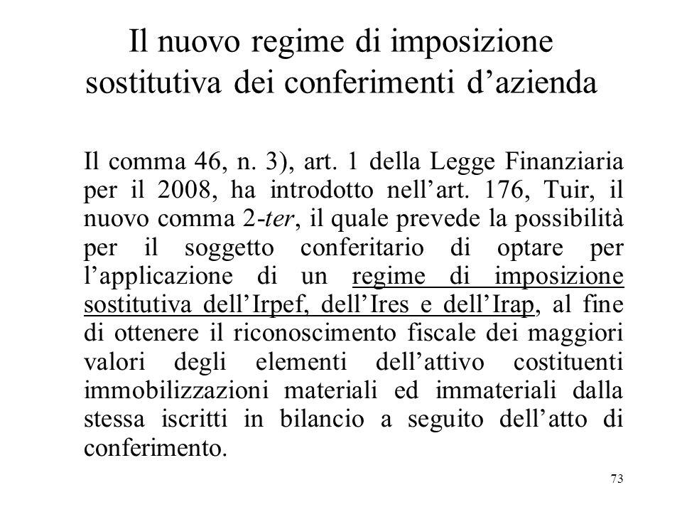 72 Conferimento dellunica azienda Nel caso in cui il conferimento abbia ad oggetto lunica azienda dellimprenditore individuale, la successiva cessione