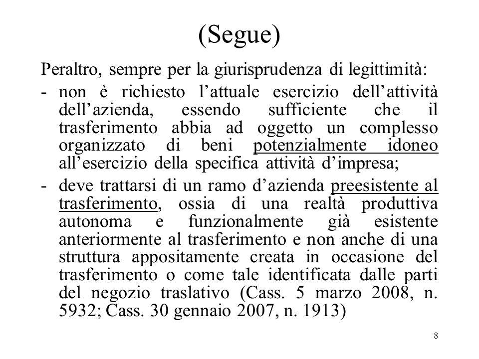 7 (Segue) Secondo la Corte di Cassazione (Cass. 8 settembre 2005, n. 17928; cass. 22 dicembre 2004, n. 23804) si è in presenza di un trasferimento di