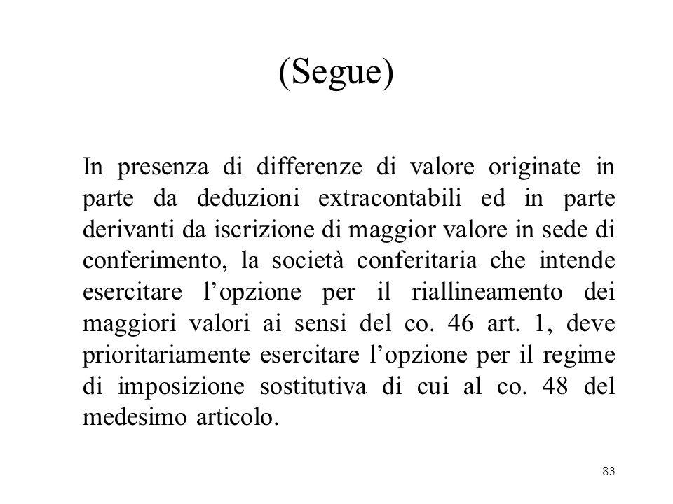 82 Coordinamento con il regime di imposizione sostitutiva dei disallineamenti derivanti da deduzioni extracontabili Alle eventuali differenze di valor