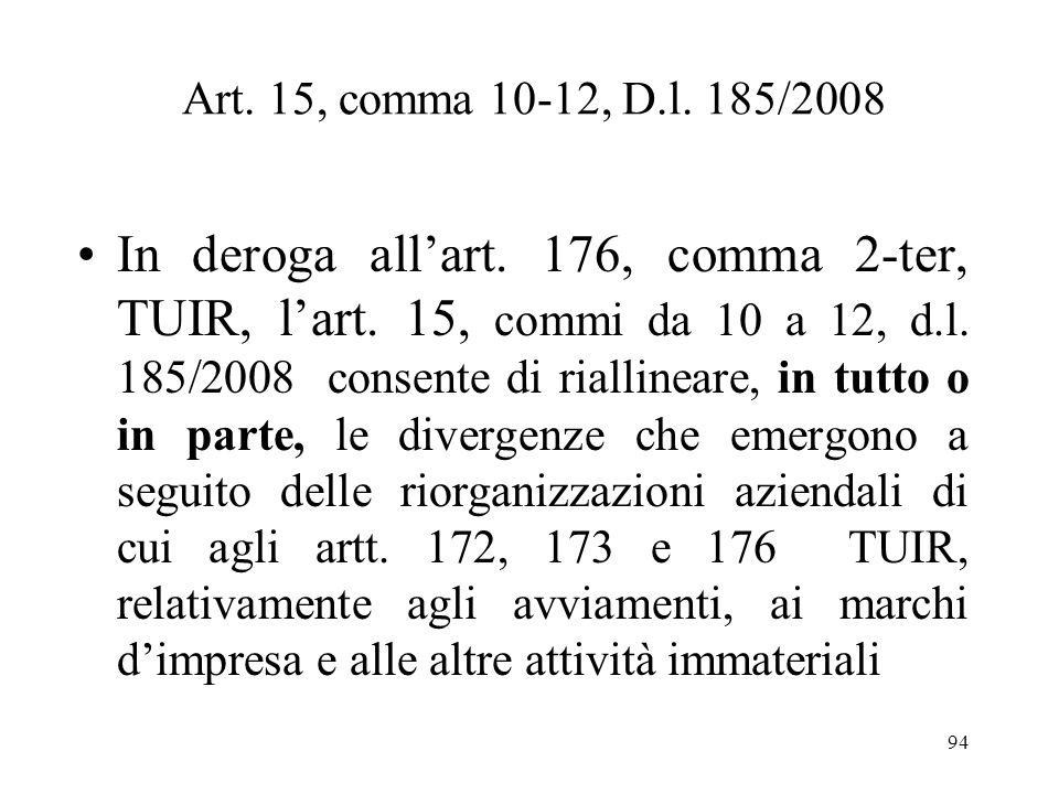 93 (Segue) Fusioni e scissioni E inoltre, prevista lapplicazione di tale regime di imposizione sostitutiva anche ai maggiori valori emergenti nel bila