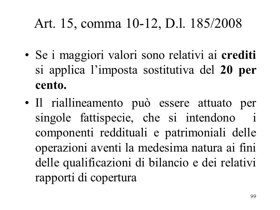 Art. 15, comma 10-12, D.l. 185/2008 Il riallineamento è consentito anche per rivalutare fiscalmente i maggiori valori delle immobilizzazioni finanziar