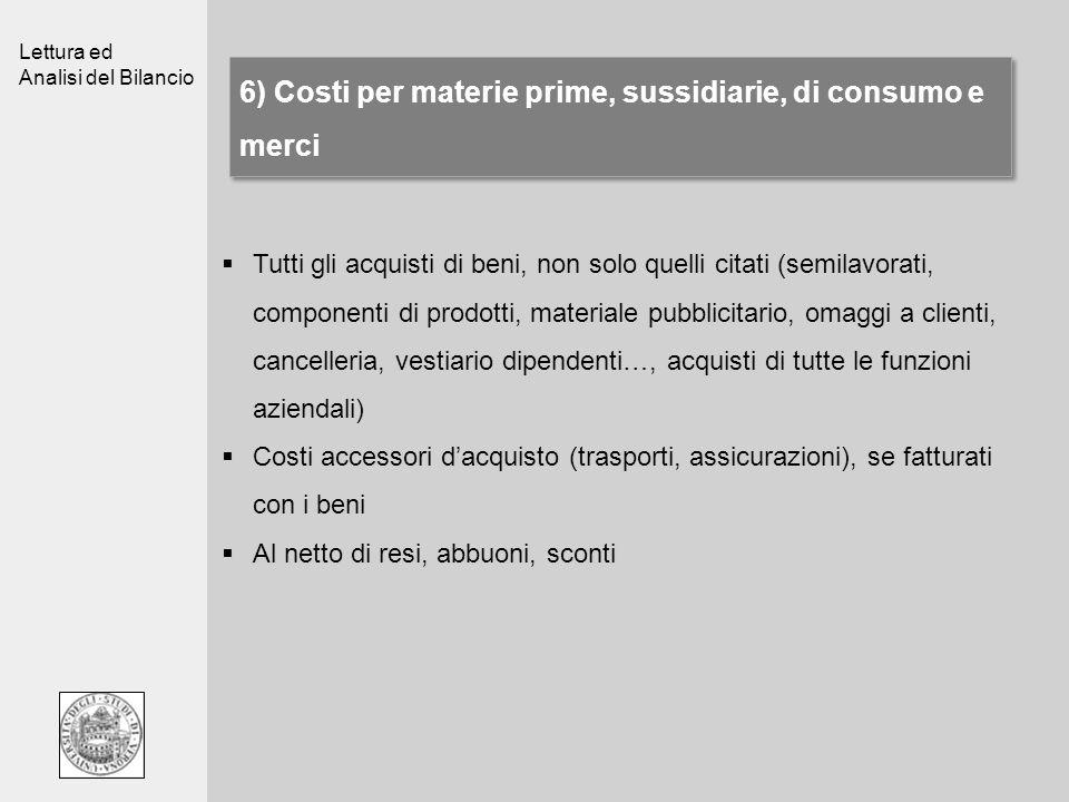 Lettura ed Analisi del Bilancio 6) Costi per materie prime, sussidiarie, di consumo e merci Tutti gli acquisti di beni, non solo quelli citati (semila