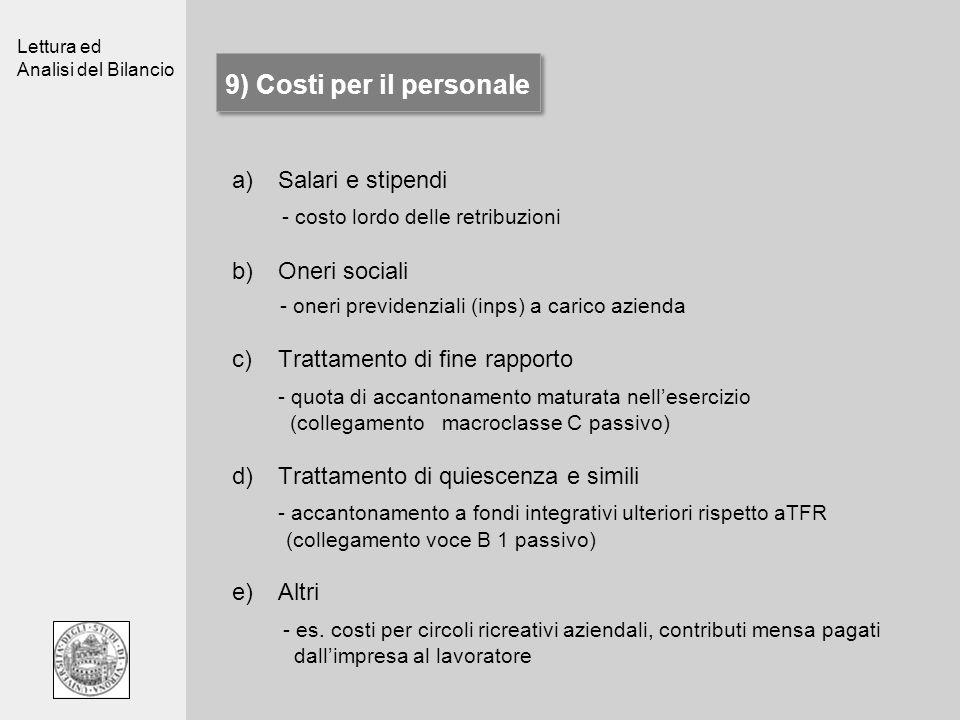 Lettura ed Analisi del Bilancio 9) Costi per il personale a)Salari e stipendi - costo lordo delle retribuzioni b)Oneri sociali - oneri previdenziali (