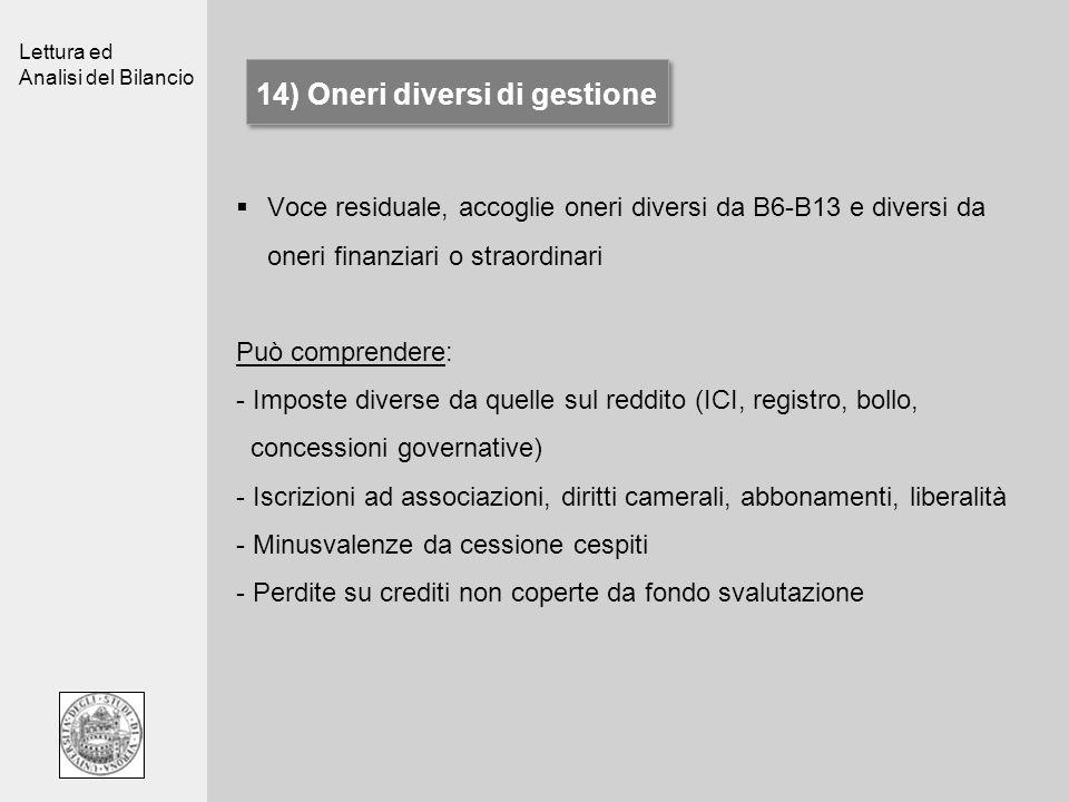 Lettura ed Analisi del Bilancio 14) Oneri diversi di gestione Voce residuale, accoglie oneri diversi da B6-B13 e diversi da oneri finanziari o straord
