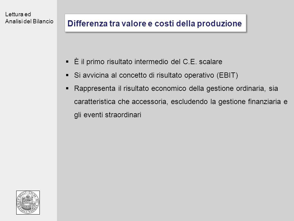 Lettura ed Analisi del Bilancio Differenza tra valore e costi della produzione È il primo risultato intermedio del C.E. scalare Si avvicina al concett