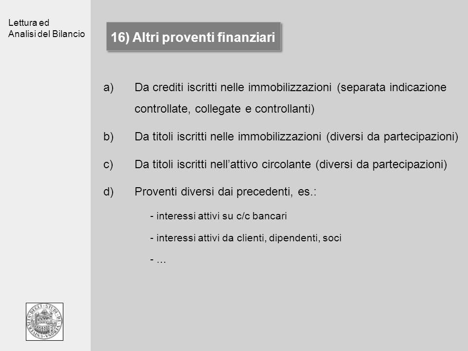 Lettura ed Analisi del Bilancio 16) Altri proventi finanziari a)Da crediti iscritti nelle immobilizzazioni (separata indicazione controllate, collegat