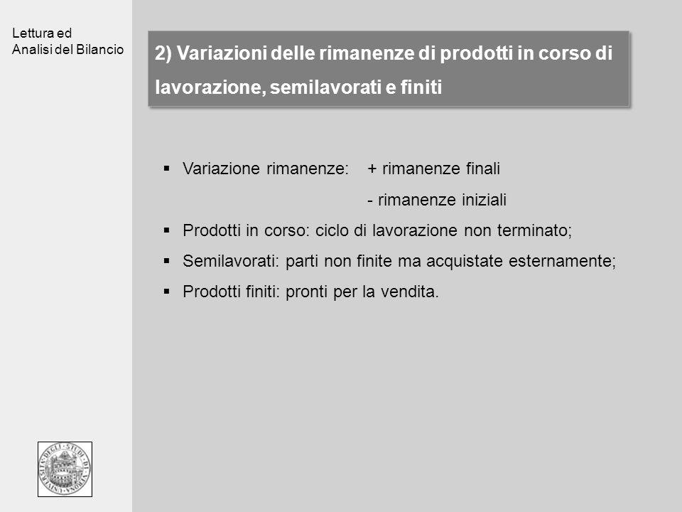Lettura ed Analisi del Bilancio 2) Variazioni delle rimanenze di prodotti in corso di lavorazione, semilavorati e finiti Variazione rimanenze: + riman