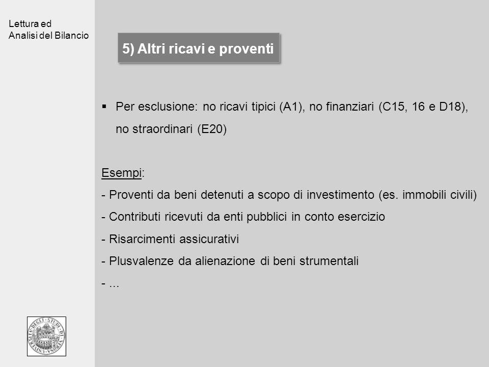 Lettura ed Analisi del Bilancio 5) Altri ricavi e proventi Per esclusione: no ricavi tipici (A1), no finanziari (C15, 16 e D18), no straordinari (E20)