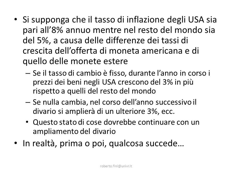 roberto.fini@univr.it Si supponga che il tasso di inflazione degli USA sia pari all8% annuo mentre nel resto del mondo sia del 5%, a causa delle differenze dei tassi di crescita dellofferta di moneta americana e di quello delle monete estere – Se il tasso di cambio è fisso, durante lanno in corso i prezzi dei beni negli USA crescono del 3% in più rispetto a quelli del resto del mondo – Se nulla cambia, nel corso dellanno successivo il divario si amplierà di un ulteriore 3%, ecc.