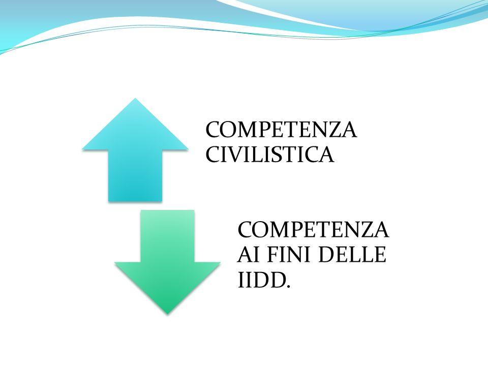 COMPETENZA CIVILISTICA COMPETENZA AI FINI DELLE IIDD.