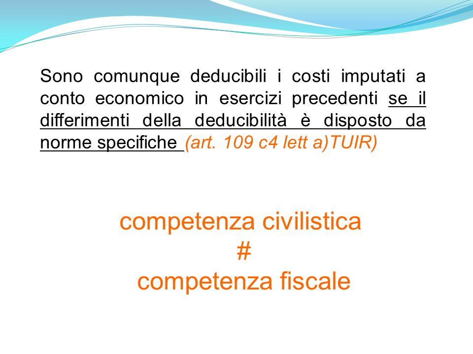 Sono comunque deducibili i costi imputati a conto economico in esercizi precedenti se il differimenti della deducibilità è disposto da norme specifiche (art.