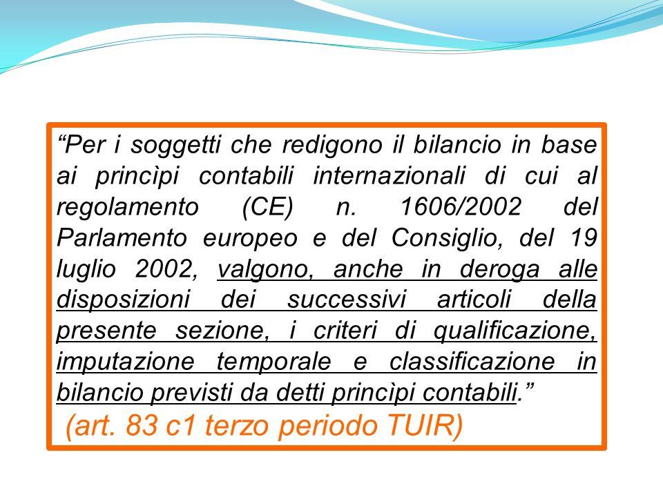 Per i soggetti che redigono il bilancio in base ai princìpi contabili internazionali di cui al regolamento (CE) n.