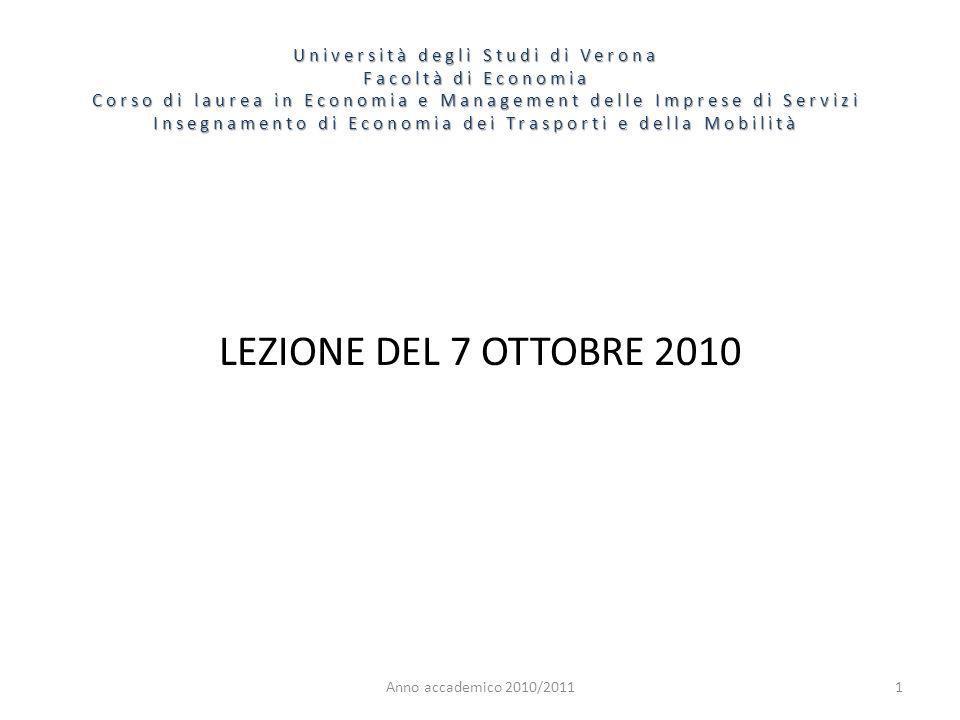 1 Università degli Studi di Verona Facoltà di Economia Corso di laurea in Economia e Management delle Imprese di Servizi Insegnamento di Economia dei Trasporti e della Mobilità Anno accademico 2010/2011 LEZIONE DEL 7 OTTOBRE 2010