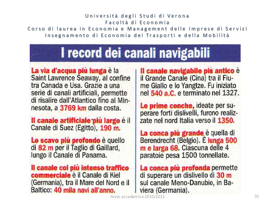 70 Università degli Studi di Verona Facoltà di Economia Corso di laurea in Economia e Management delle Imprese di Servizi Insegnamento di Economia dei