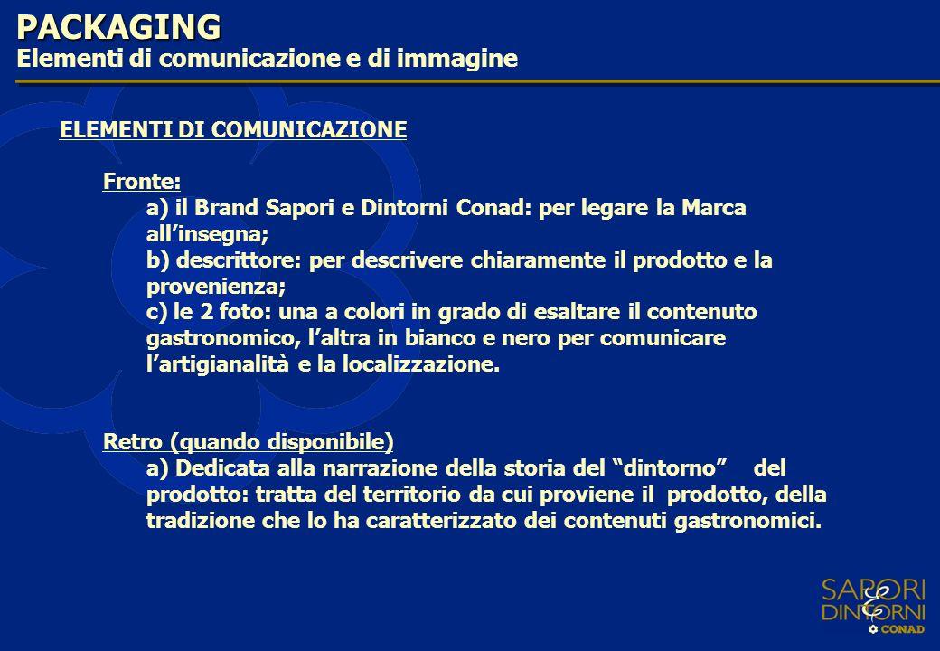 PACKAGING Elementi di comunicazione e di immagine ELEMENTI DI COMUNICAZIONE Fronte: a) il Brand Sapori e Dintorni Conad: per legare la Marca allinsegn