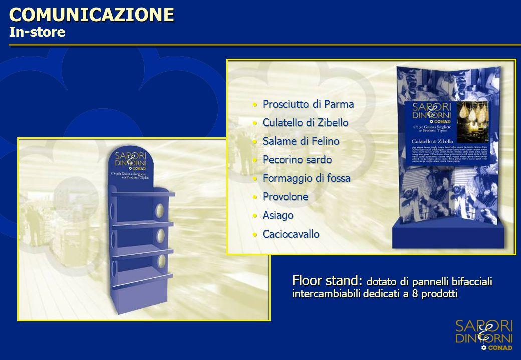 COMUNICAZIONE In-store Floor stand: dotato di pannelli bifacciali intercambiabili dedicati a 8 prodotti Prosciutto di Parma Culatello di Zibello Salam