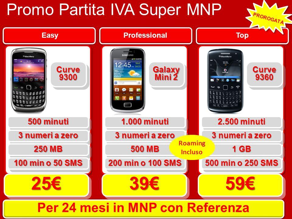 Promo Partita IVA Super MNP Top Professional Easy 500 minuti 252539395959 Per 12 mesi in MNP Per 24 mesi in MNP con Referenza 3 numeri a zero 250 MB 1
