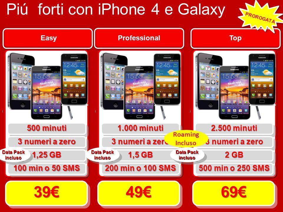 Piú forti con iPhone 4 e Galaxy Top 6969 Professional 4949 Easy 3939 500 minuti 3 numeri a zero 1,25 GB 100 min o 50 SMS 1.000 minuti 3 numeri a zero