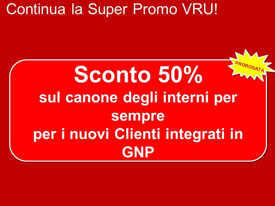 Continua la Super Promo VRU! + Sconto 50% sul canone degli interni per sempre per i nuovi Clienti integrati in GNP Sconto 50% sul canone degli interni