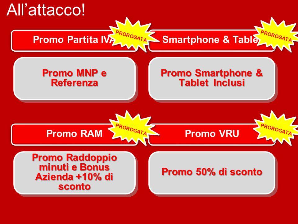 Allattacco! Promo RAM + Promo VRU Promo Raddoppio minuti e Bonus Azienda +10% di sconto Promo 50% di sconto Promo Partita IVA Smartphone & Tablet Prom